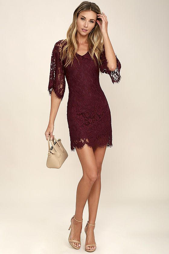 2975951b8c94 Turn heads when you walk into the party in the Here and Wow Burgundy Lace  Dress! Lovely eyelash lace overlay tops a burgundy knit lining