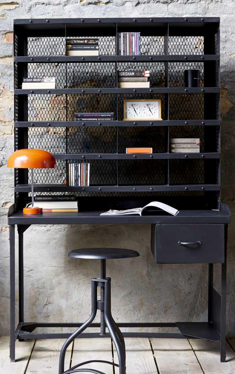 Industrial style writing desk made of black metal, perfect for a ...