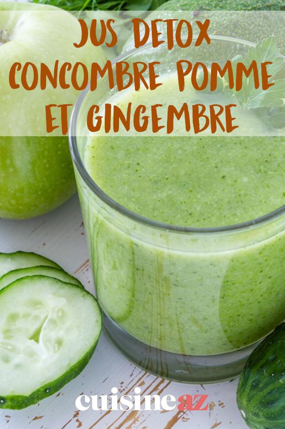 Jus detox concombre pomme et gingembre