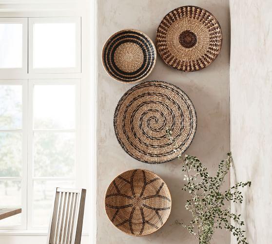 Handwoven Baskets Wall Art Set Of 4 In 2020 Basket Wall Art
