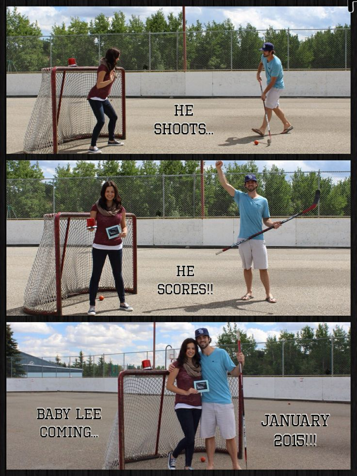 Our hockey themed baby announcement!! So excited!! Haha this is so Robbie but on - Knox Baby Name - Ideas of Knox Baby Name #knoxbabyname #babyname -  Our hockey themed baby announcement!! So excited!! Haha this is so Robbie but on ice of course lol