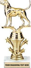 Coon Hound Dog #Trophy. This is a Simple and Classy Way to Recognize Your Dog Winners. http://www.crownawards.com/StoreFront/TRSTR3.Animals.Trophies.StarBell_Trophies.prod
