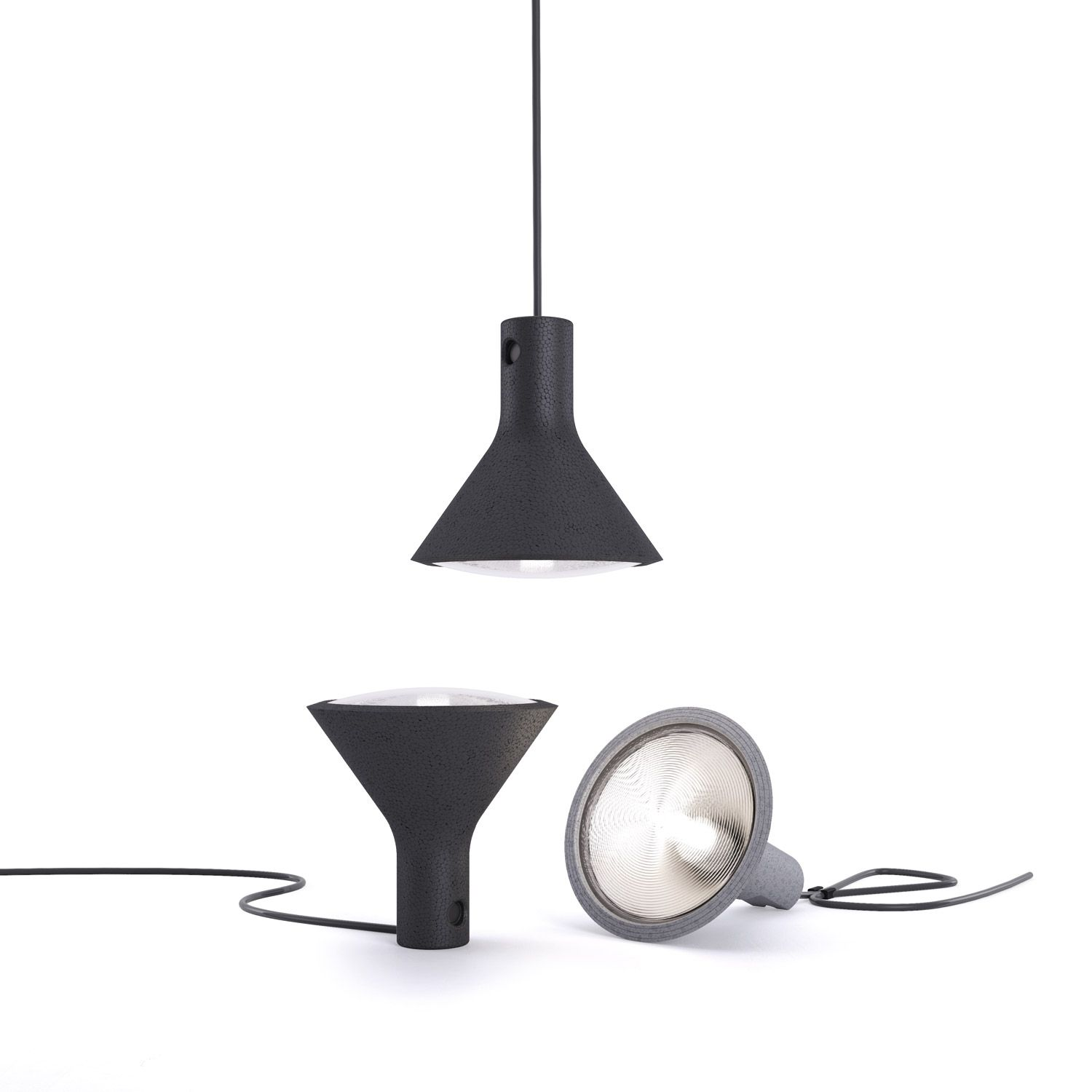 Yupik (lighting): Portable lamp. Body in polypropylene foam, available in pale grey and black. Diffuser in clear polycarbonate. Fitted with 5-metre black power cable, allowing the lamp to be moved and placed on a surface with the light source directed upwards, laid on one side or even hung up, thanks to a hook that can be used for holding the cable. (designer: Form us with love | 2013) - More @ www.fontanaarte.com #fontanaarte #light #lamp