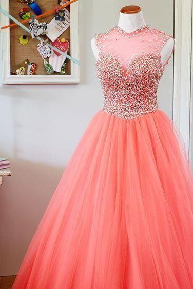 2017 Custom Made Popular Hot Pink Prom Dresses,Sleeveless Evening Dresses, Beading tulle Evening Dress,Sexy Backless Prom Dresss,satin A-Line Formal Gowns, Prom Dress,Formal Gowns Plus Size, Cocktail Dresses, formal dresses,Wedding guests dresses
