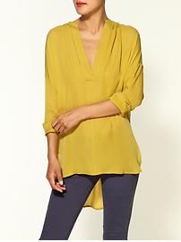 Silk Shirred Neckline Half Placket Blouse - Citrine...I'd rather a different color, I just like the cut of the blouse!