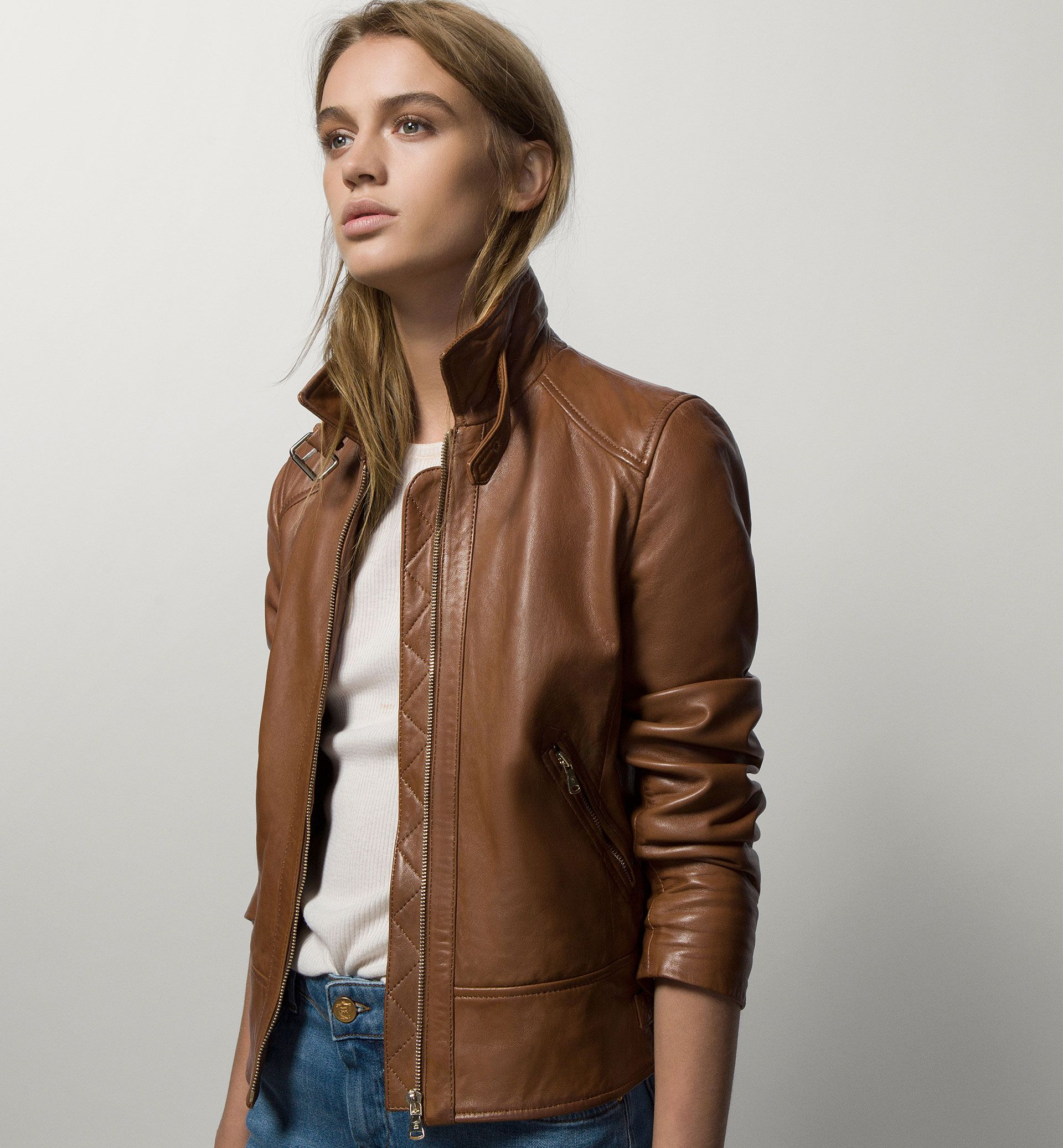 LEATHER JACKET WITH WORN SEAMS - if it came in black, though ...