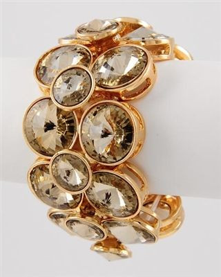 "Gold Tone Stretch Crystal Bracelet Lead & nickel compliant  •  SIZE FREE : STRETCH •  WIDTH : 1 3/4"" Buy at www.trendi737.com #Bracelet #Stretchbracelet #bronze #copper #trendi737"