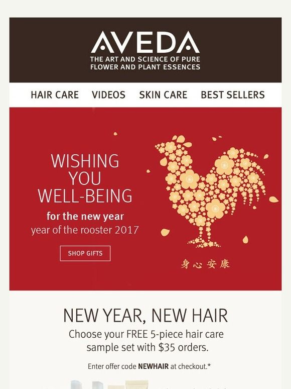 Happy Lunar New Year Celebrate With A Free 5 Piece Hair Care Set Email Marketing Design Inspiration Happy Lunar New Year Email Marketing Design