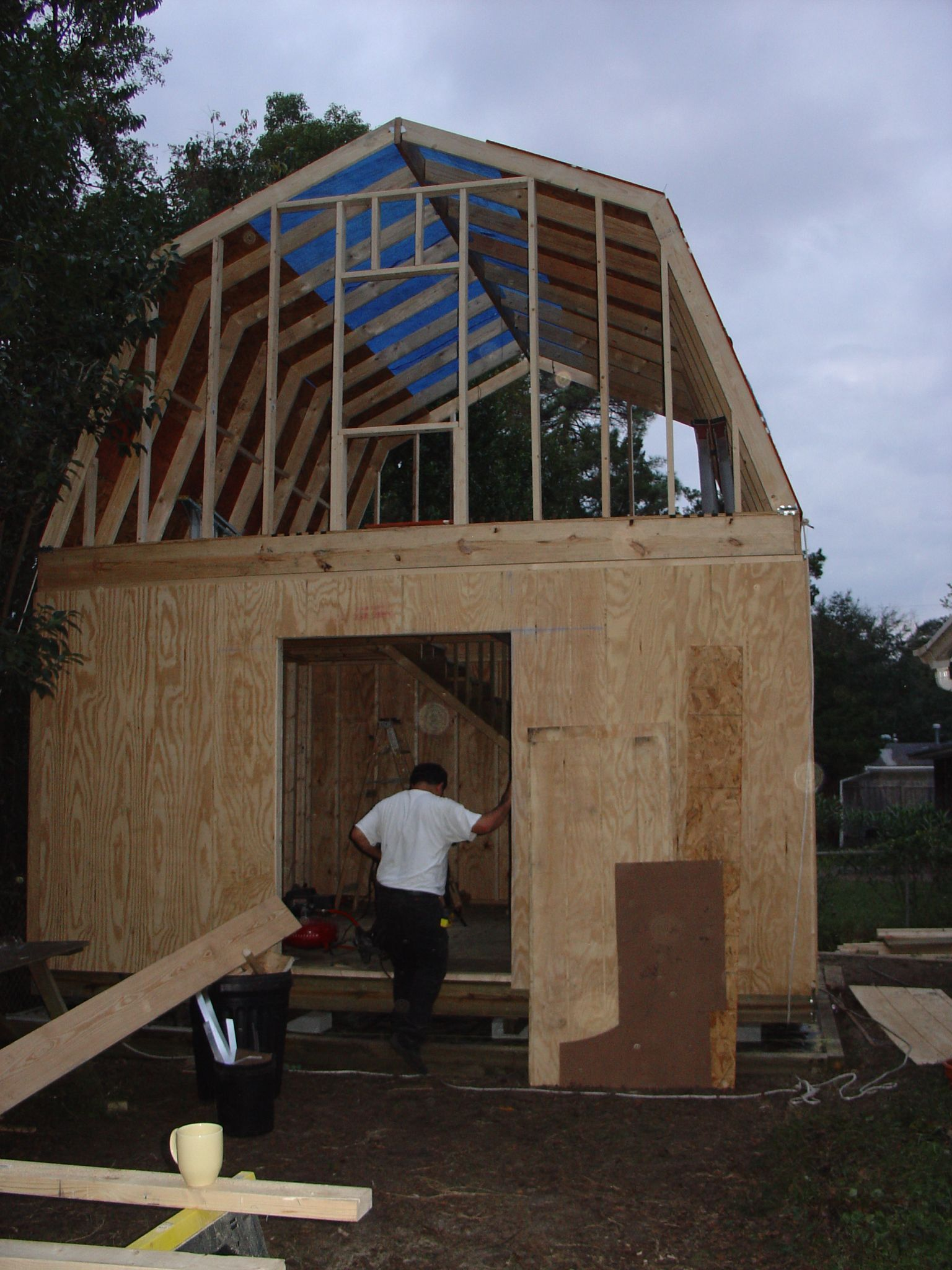 How to build a two story shed with a lot of help for Two storage house designs