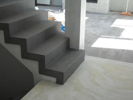 Microcemento spaces pinterest microcemento escalera for Escaleras de cemento pulido