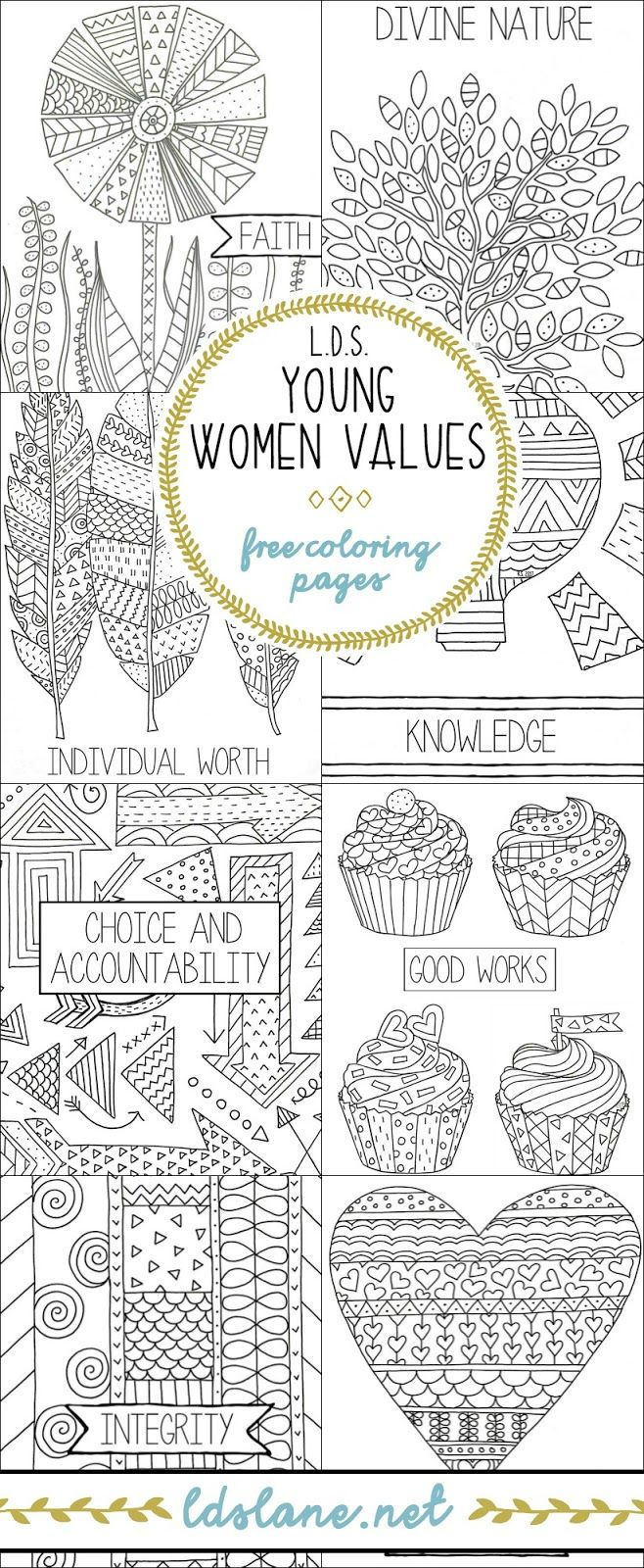 LDS Young Women Values Coloring Pages - ldslane.net | Church ...