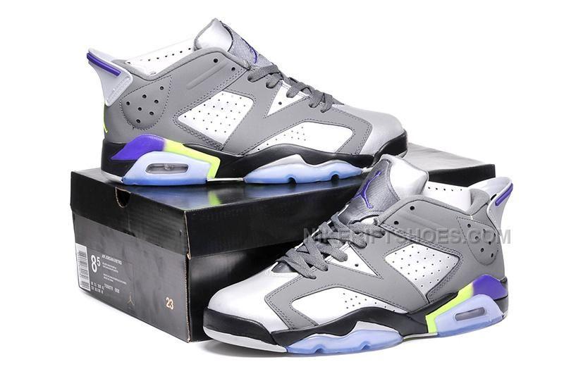 29953eebda40af Women Air Jordan 6 Low Ultraviolet Grey Leather purple Green Size ...
