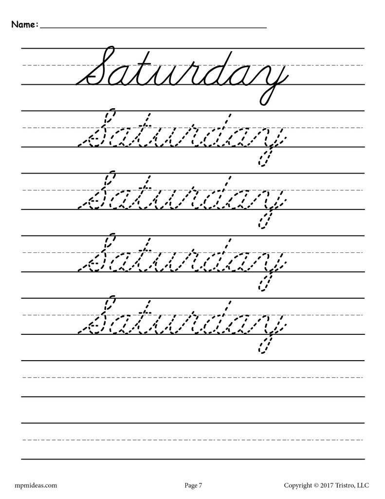 medium resolution of 2nd Grade Handwriting Worksheets 7 Days Of the Week Cursive Handwriting…    Cursive writing practice sheets