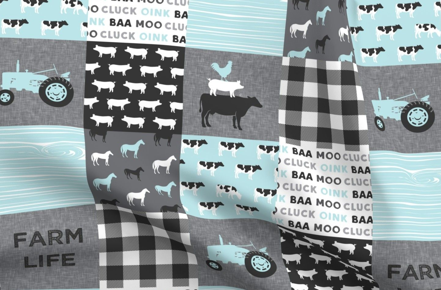 Farm Life Denim Fabric Fat Quarter Patchwork Fabric Blue And Grey Animals Tractor Baby Boy Nursery Animal Blanket Little Arrow Cute  By Spoonflower