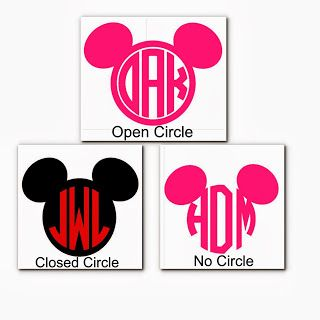 Mickey Monogram Vinyl Decals Disney Donna Kay Magical Creations - Disney custom vinyl stickers