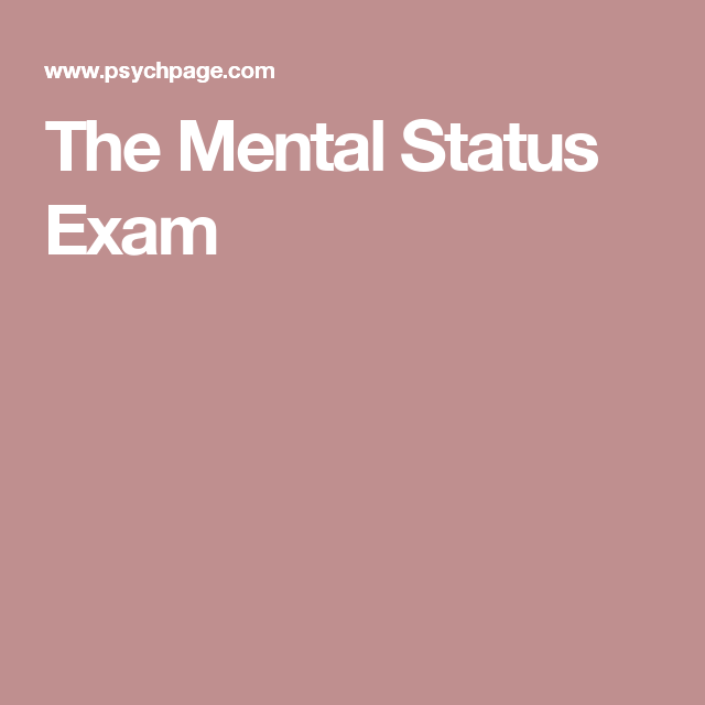 The Mental Status Exam (With images) | Counseling ...