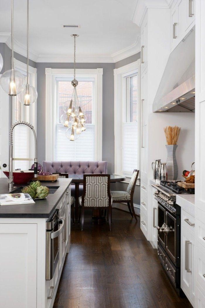 wohnküche stilvoller essbereich und dunkler bodenbelag Küche - bodenbelag für küche
