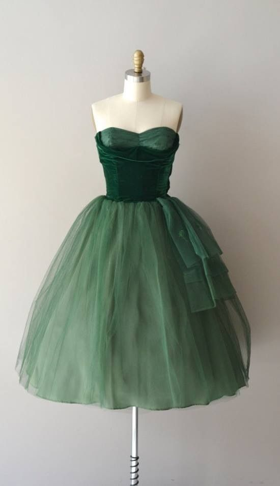 Vintage 50s Green Tulle Prom Dress