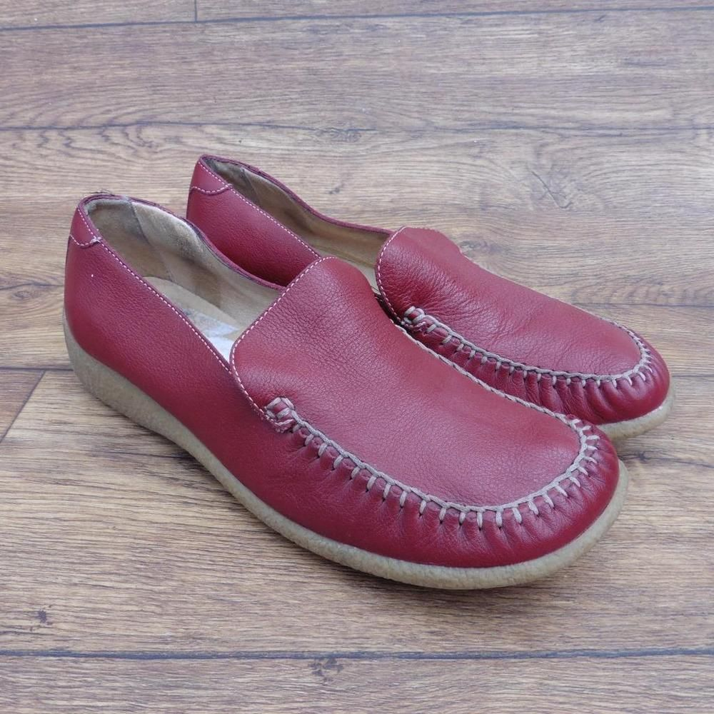 Ebay uk leather work gloves - Size Uk 6 5 Clarks Fenby Red Leather Shoes Loafers Moccasins Flat Comfortable Ebay