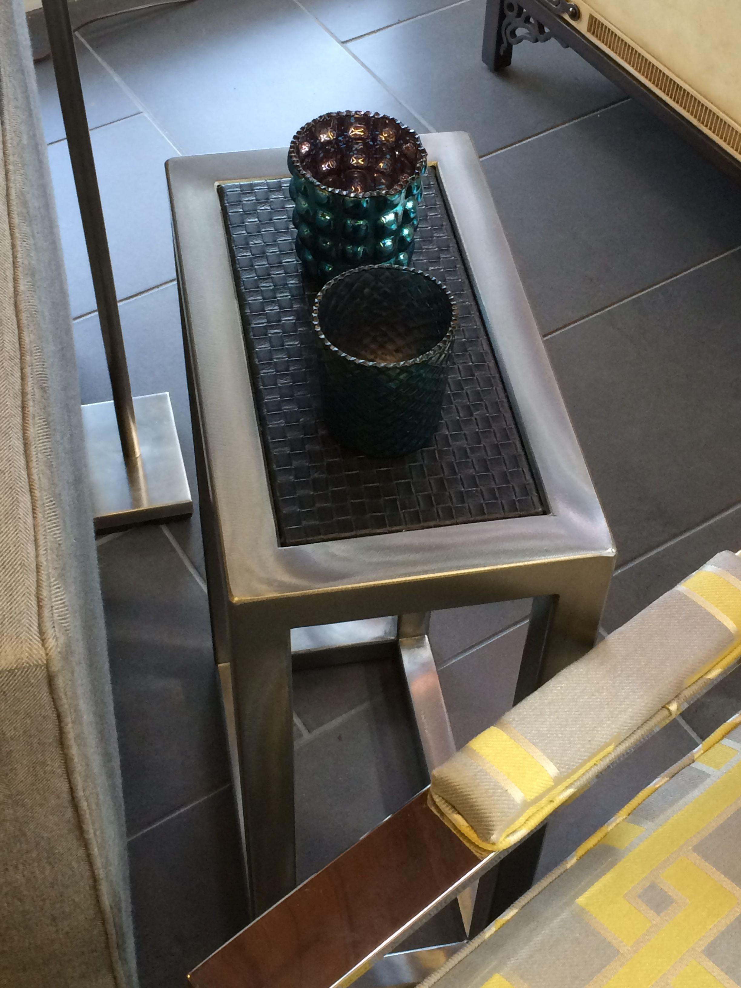 Kolkka Ami Side Table, Woven Black Vinyl, Pewter Finish  8x14x23