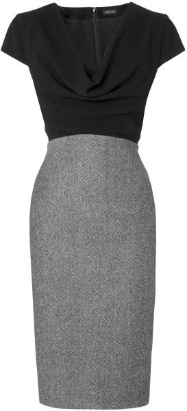 Jaeger Black Cowl Neck Dress Contrast Skirt Fashion Dresses
