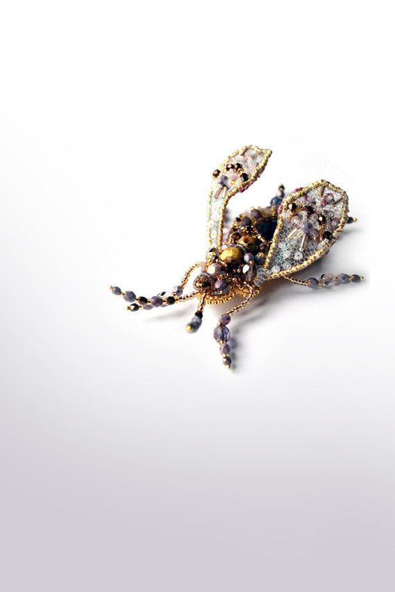 Ooak designer's jewelry Beetle brooch with by PurePearlBoutique