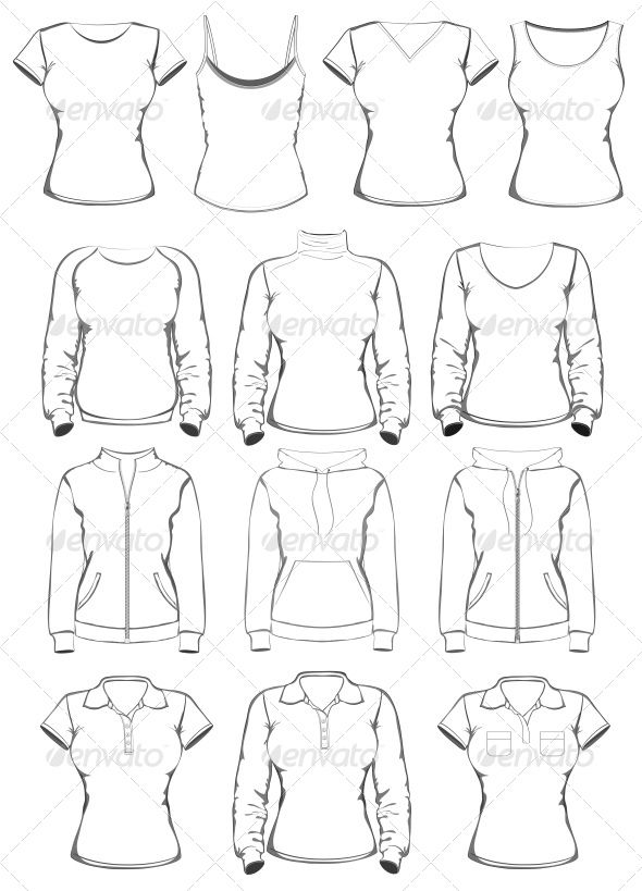 collection of women clothes outline templates commercial