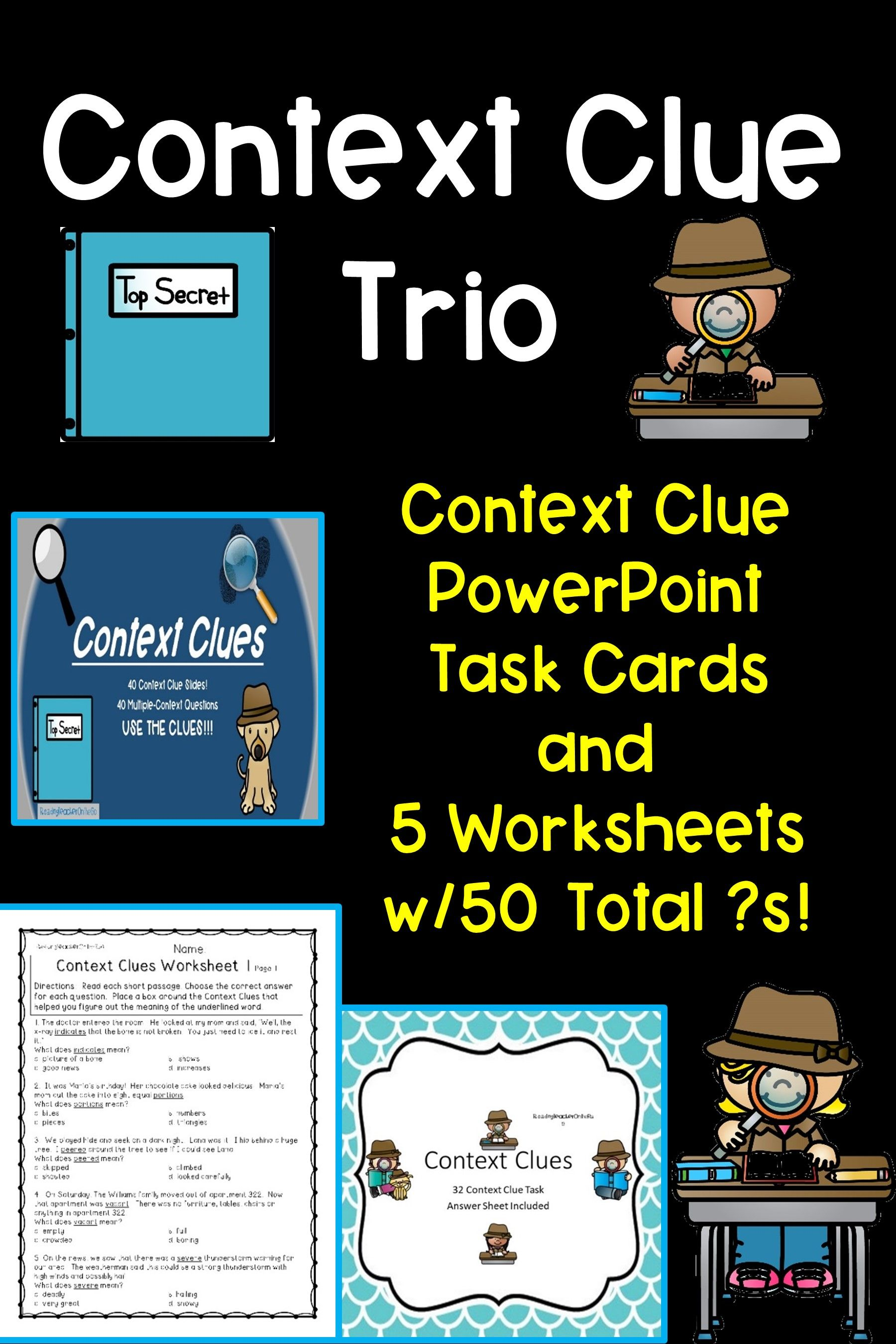 Context Clue Bundle Context Clues Context Clues Task Cards Context Clues Worksheets [ 2700 x 1800 Pixel ]