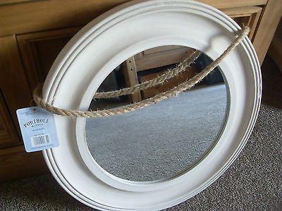 Shabby Vintage Round Large Porthole Wood White Washed Wall Mirror Rope Bathroom White Wash Walls Shabby Vintage White Wash