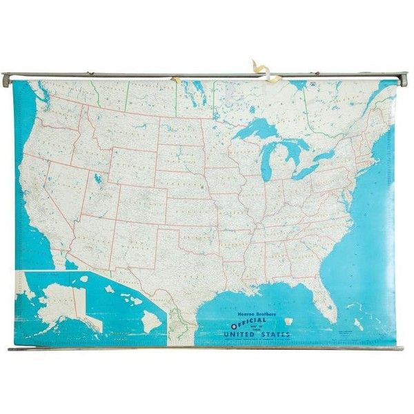 Vintage Hearne Brothers Usa Pull Down Map ($350) ❤ liked on ...