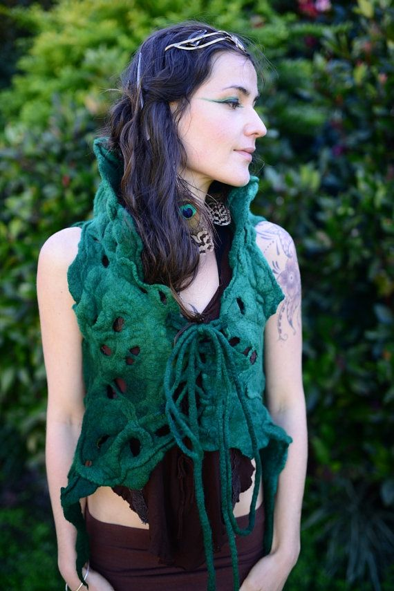 Felt Melted Green Forest Fairy Pixie Woodland Nymph High Collar Corset Closure Vest Top OOAK