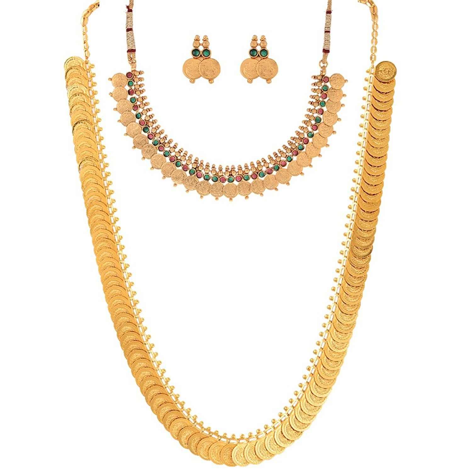 Buy Zeneme Red Gold-Plated Coin Chain Long Necklace, Short Chain ...