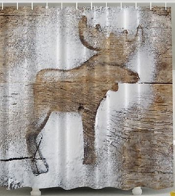 Woodland Moose Shower Curtain Rustic Wooden Panels Log Cabin Snow Bath Decor