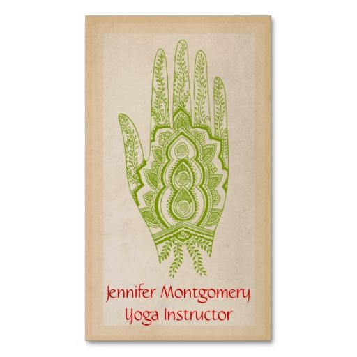Green Henna Hand Yoga Instructor Business Card. I love this design! It is available for customization or ready to buy as is. All you need is to add your business info to this template then place the order. It will ship within 24 hours. Just click the image to make your own!