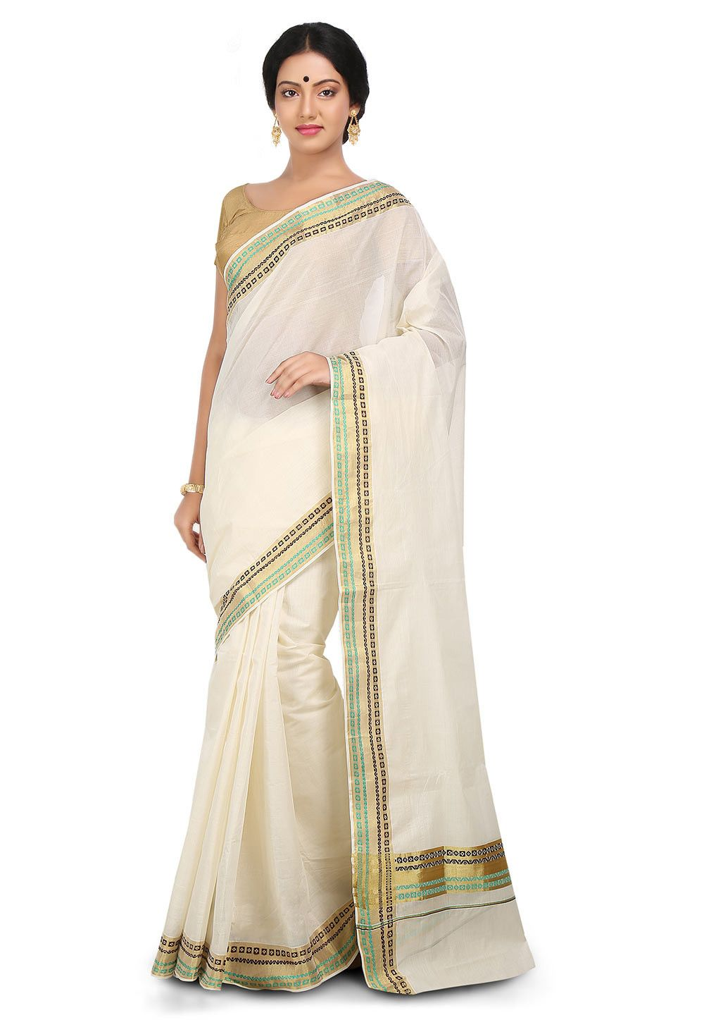 Off white tussar silk saree this traditional attire is woven in zari available with an off white