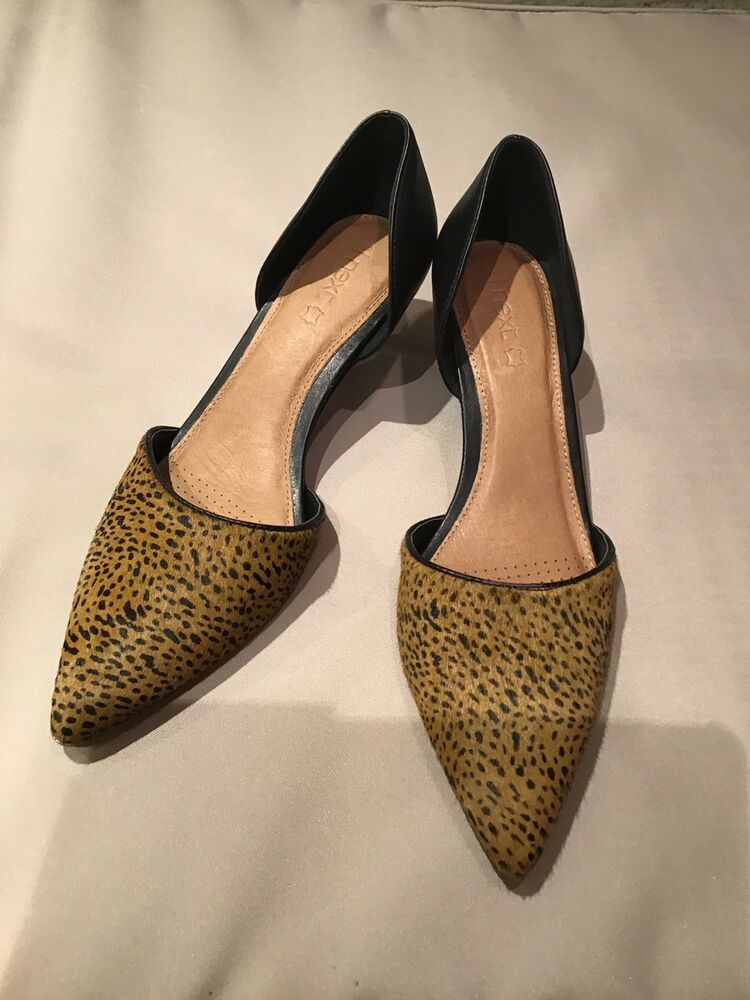ec4cc9bdb1b9 Next Womens Shoes Kitten Heels Leopard Print Pony Hair Leather RRP 35 UK 6  - Kitten