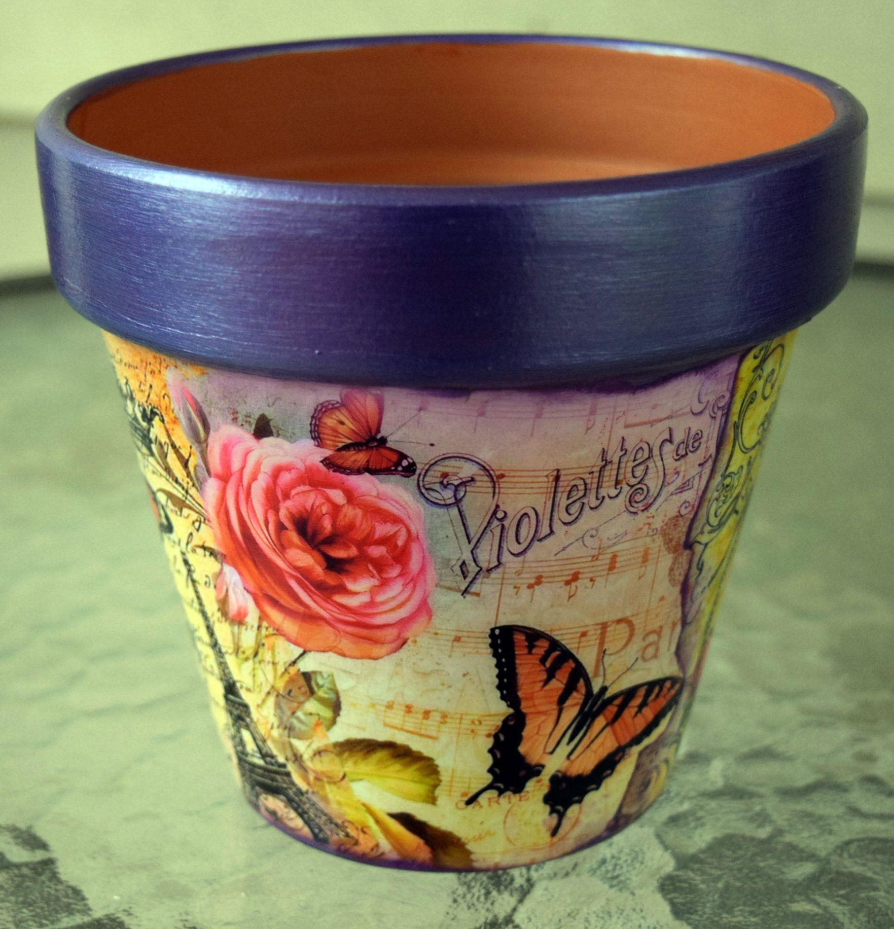 Spring in Paris Purple Decorative Decoupage Flower Pot