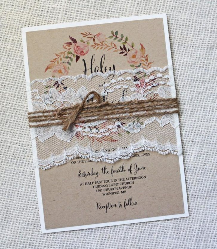 Wedding. Rustic Themes Wedding Invitation Sample Lace Vintage Shabby ...