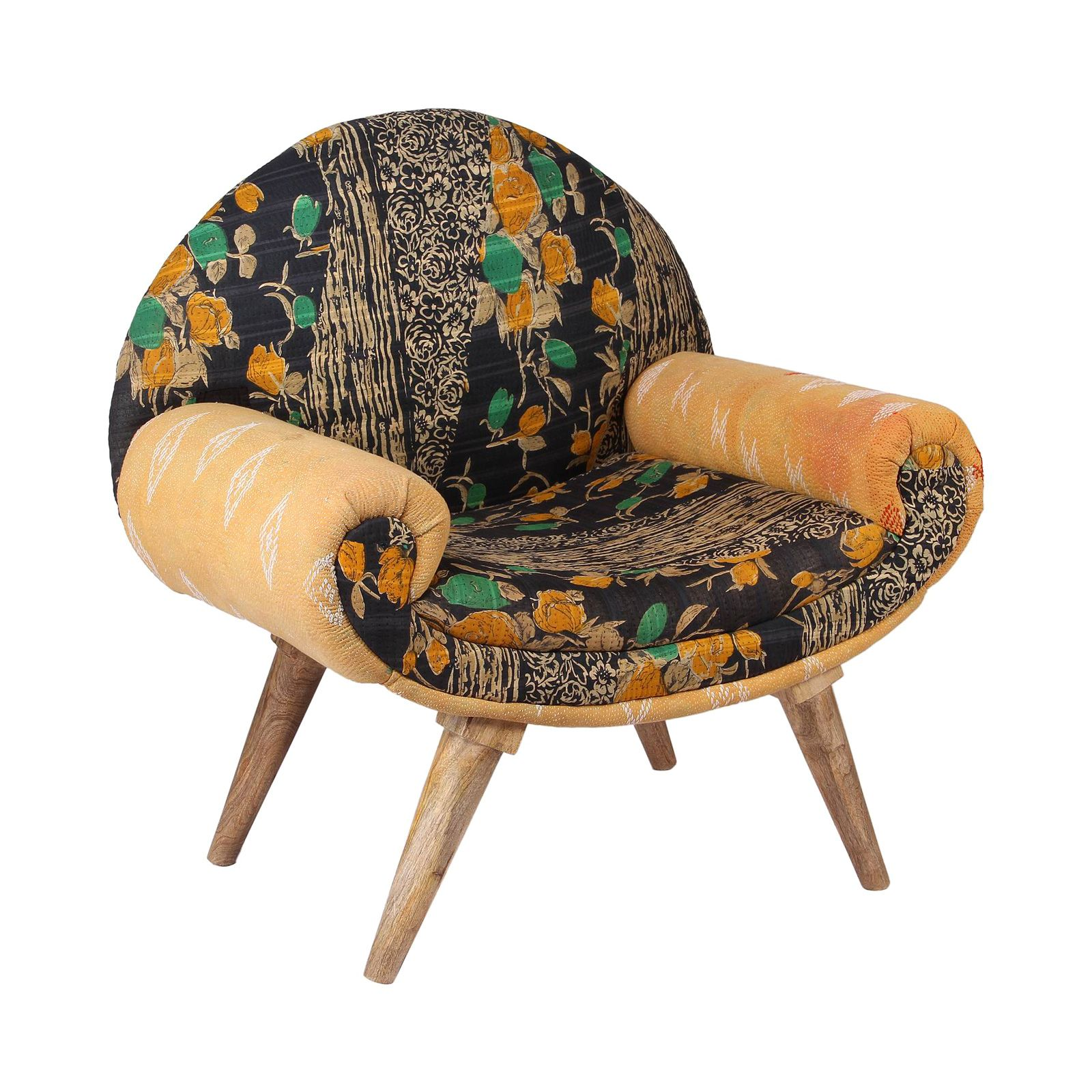 Jaipur arm chair in vintage kantha from the get lucky collection dotandbo com
