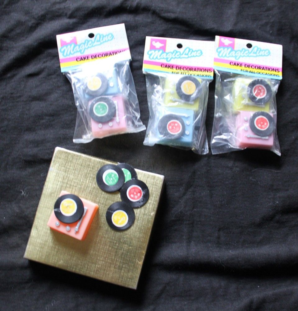 Mini Vinyl Records For Cupcake Decorations Cake Decor
