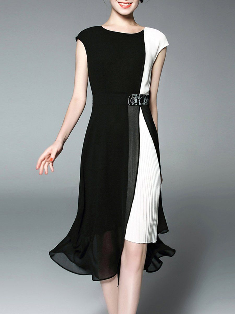 Midi Dress A-line Daily Short Sleeve Paneled Dress | Nähmuster, Moda ...