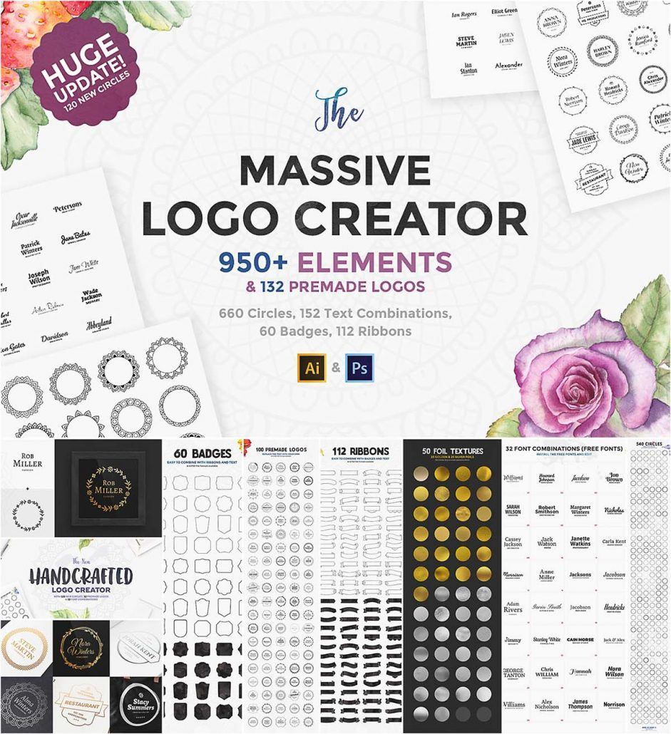 Massive logo creator set Logo software, Logo creation