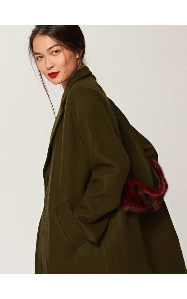 Gutscheincodes mäßiger Preis modischer Stil Mantel mit Pelzelement, Jacken, Mäntel, grÜn, RESERVED ...