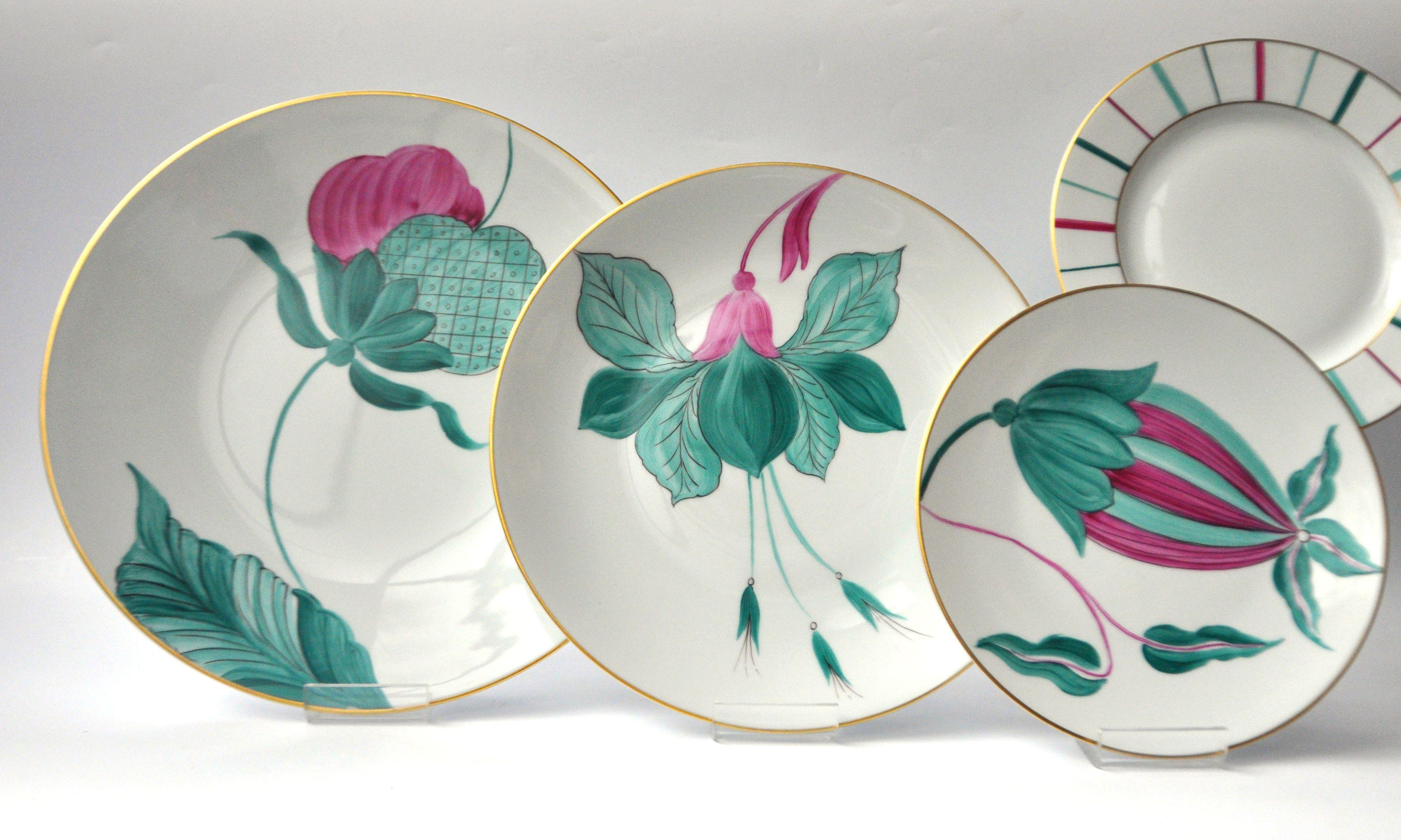 Marie Dâage Porcelaine de Limoges Collections: Jardin d'Udaïpur, Berlingot Fuschia/Vert d'eau/Bleu canard