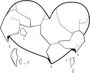 How To Draw Broken Hearts By Dawn Heart Coloring Pages Broken