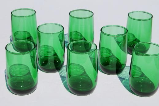 Vintage Anchor Hocking Forest Green Glass Juice Glasses Set Of 8 Roly Poly Tumblers Glass Colored Glassware Green Glass