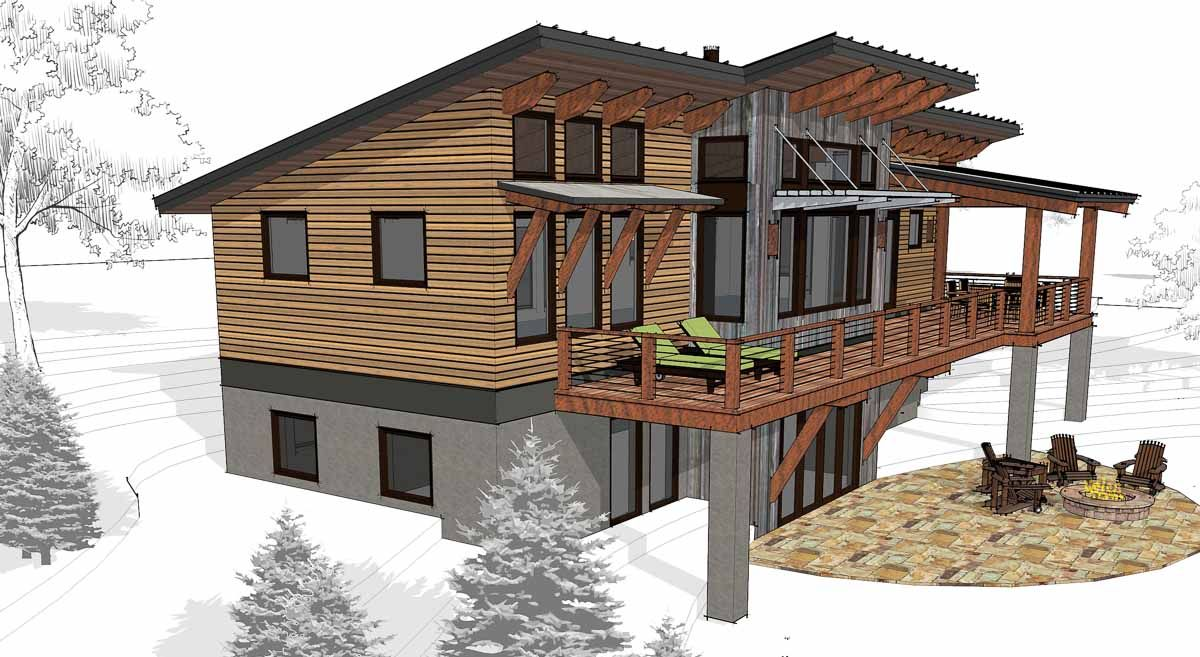 Computer Model Of Burke Design Small Lake Houses Rustic Houses Exterior Modern Style House Plans