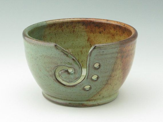 Handmade Pottery Large Yarn Bowl In Stock, Honey Brown and Sage Green Knitting Bowl, Decorative Stoneware Crochet Bowl Ready to Ship! This