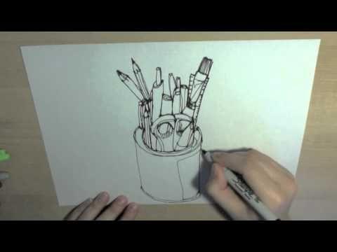 Single Line Character Art : Single line drawing pencil tin school videos