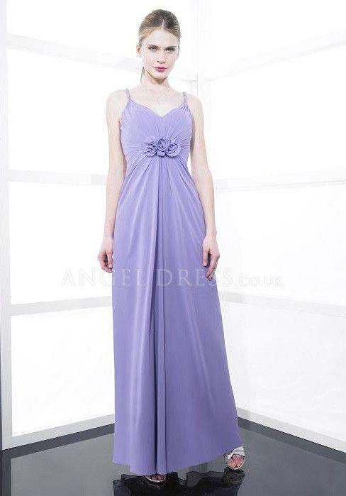 Spaghetti Straps Floor Length A line Zipper up Chiffon Sleeveless Bridesmaid Dress